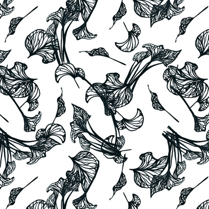 Foliage Floral Fabric Design (Charcoal colorway)