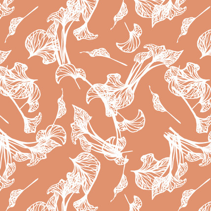 Foliage Floral Fabric Design (Peach colorway)