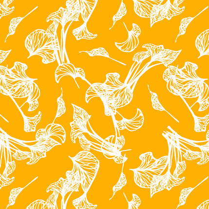 Foliage Floral Fabric Design (Yellow colorway)