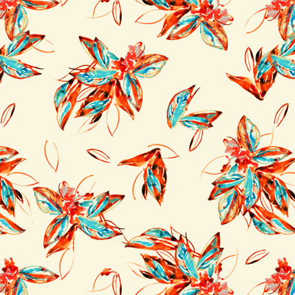 Philedendron Floral Fabric Design (Red colorway)