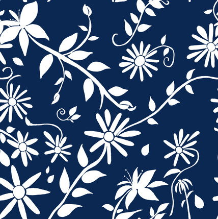 Trellis Reverse Floral Fabric Design (Ink colorway)