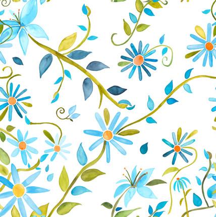 Trellis Floral Fabric Design (Cornflower Blue colorway)