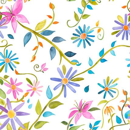 Trellis Floral Fabric Design (Garden Party colorway)