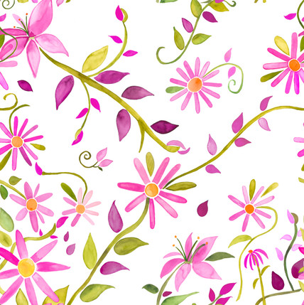 Trellis Floral Fabric Design (Rose Pink colorway)