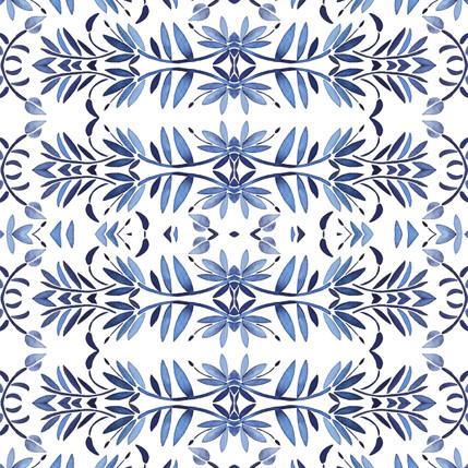 Porto Floral Fabric Design (Indigo colorway)