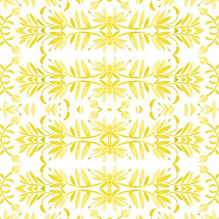 Porto Floral Fabric Design (Lemon colorway)