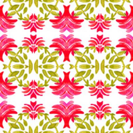 Newport Floral Fabric Design (Geranium colorway)