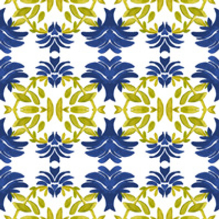 Newport Floral Fabric Design (Indigo colorway)