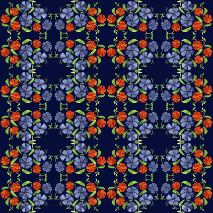 Poppy Floral Fabric Design (Evening Vineyard colorway)