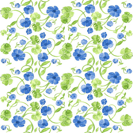 Clover Floral Fabric Design (Blueberry colorway)