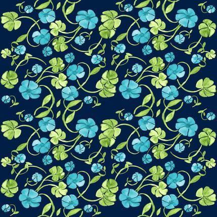 Clover Floral Fabric Design (Celtic Sea colorway)