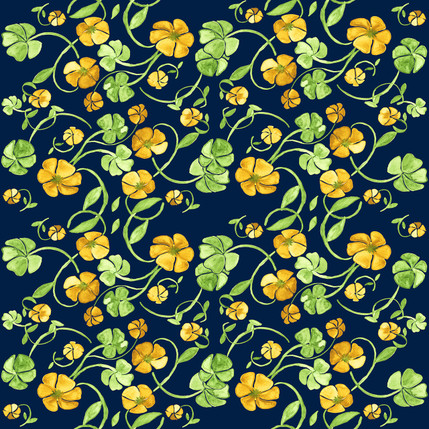 Clover Floral Fabric Design (Emerald Isle colorway)
