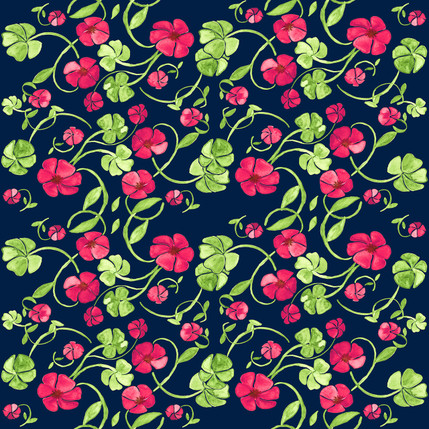 Clover Floral Fabric Design (Flowering Cliffs colorway)