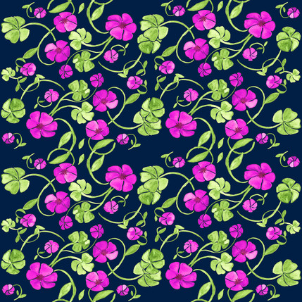 Clover Floral Fabric Design (Garden Gate colorway)