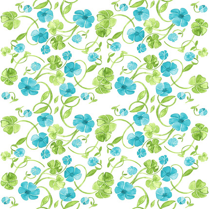 Clover Floral Fabric Design (Sea colorway)