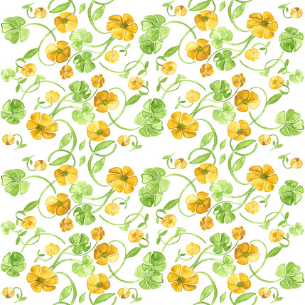 Clover Floral Fabric Design (Sunshine colorway)
