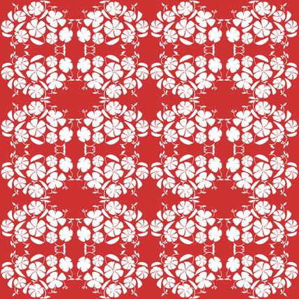 Poppy Reverse Floral Fabric Design (Crimson colorway)