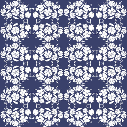 Poppy Reverse Floral Fabric Design (Dusk colorway)