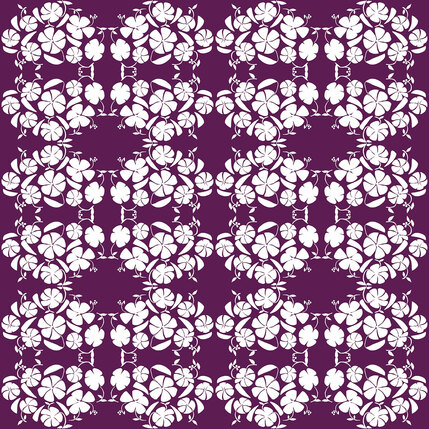 Poppy Reverse Floral Fabric Design (Grape colorway)