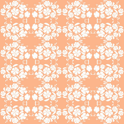 Poppy Reverse Floral Fabric Design (Peach colorway)