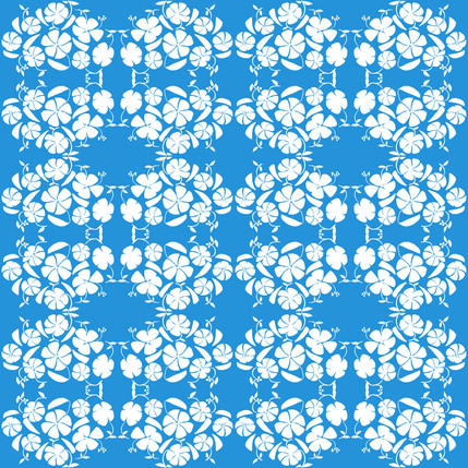 Poppy Reverse Floral Fabric Design (Sky colorway)