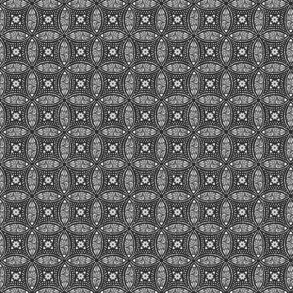 Overlapping Medallions Fabric Design (Black and White colorway)