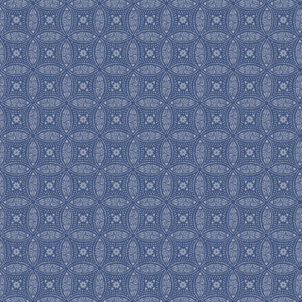 Overlapping Medallions Fabric Design (Navy colorway)