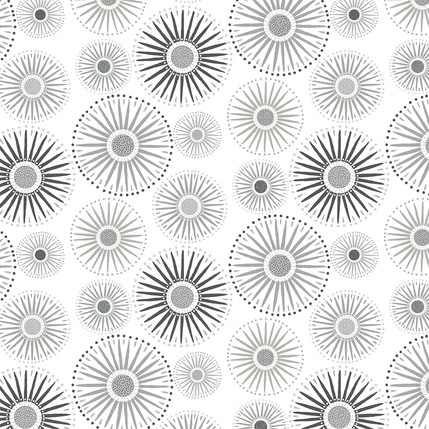 Sunburst Grande Fabric Design (Light Gray colorway)