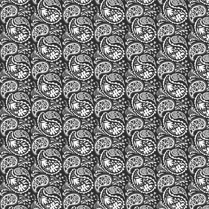 Matisse Paisley Fabric Design (Black and White colorway)