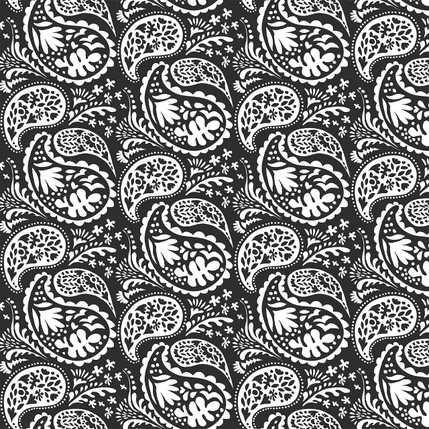Matisse Paisley Grande Fabric Design (Black and White colorway)