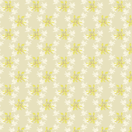 Brilliant Blossoms Fabric Design (Cream colorway)