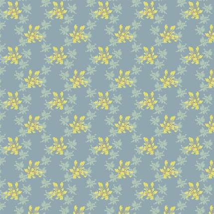 Brilliant Blossoms Fabric Design (Grey Blue colorway)