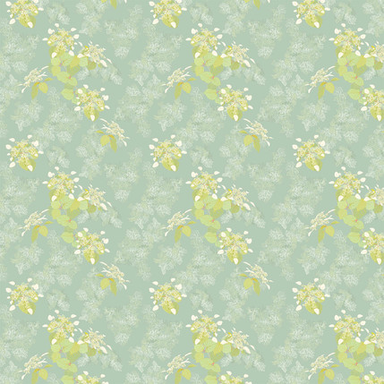 Lace Cap Fabric Design (Green Blue colorway)
