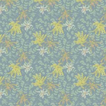 Mahonia Fabric Design (Green Blue colorway)