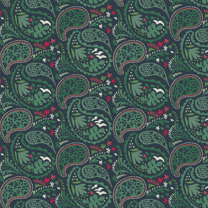 Matisse Paisley Grande Fabric Design (Holiday Green colorway)