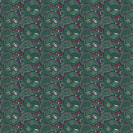 Matisse Paisley Fabric Design (Holiday Green colorway)