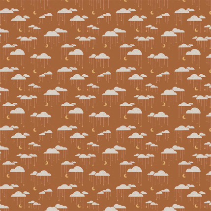 Clouds Mini Fabric Design (Brown colorway)
