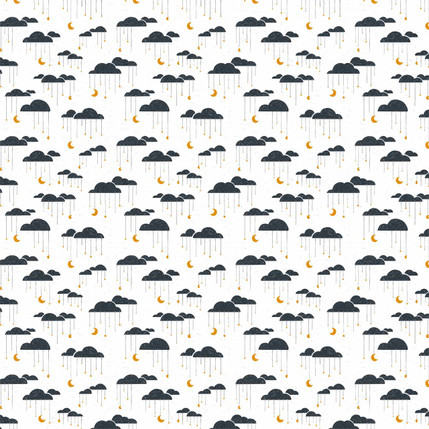 Clouds Mini Fabric Design (White and Navy colorway)