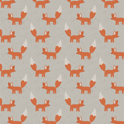 Foxes Fabric Design (Beige colorway)