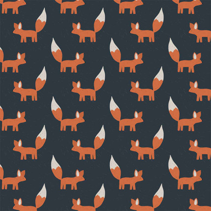 Foxes Fabric Design (Navy colorway)
