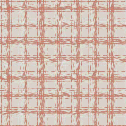 Oberon Plaid Fabric Design (Beige and Red colorway)