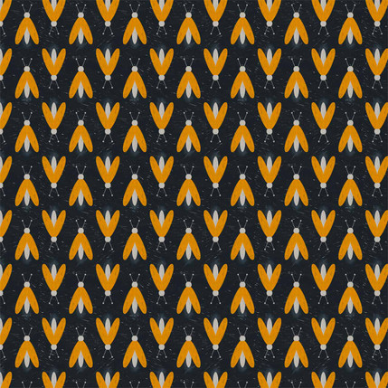 Fireflies Fabric Design (Blue and Orange colorway)