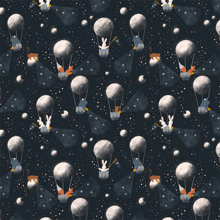 Moon Balloons Fabric Design (Navy colorway)