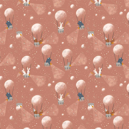 Moon Balloons Fabric Design (Pink colorway)