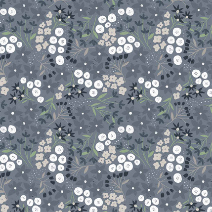 Ariel Floral Fabric Design (White and Blue colorway)