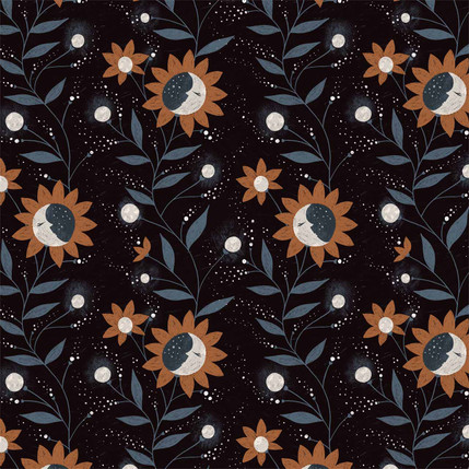 Moon Flowers Fabric Design (Brown colorway)