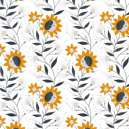 Moon Flowers Fabric Design (Orange colorway)