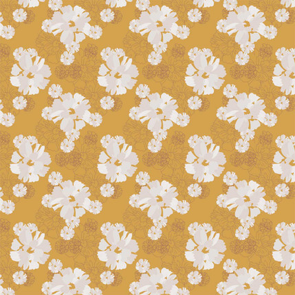 In Full Bloom Fabric Design (Mustard colorway)