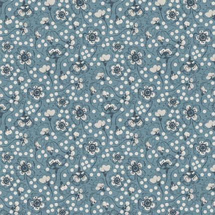 Sakura Blossoms Fabric Design (Blue colorway)