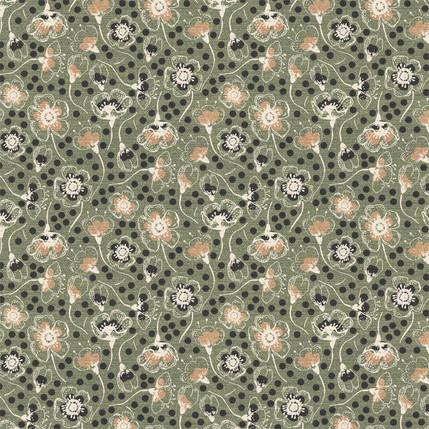 Sakura Blossoms Fabric Design (Olive colorway)